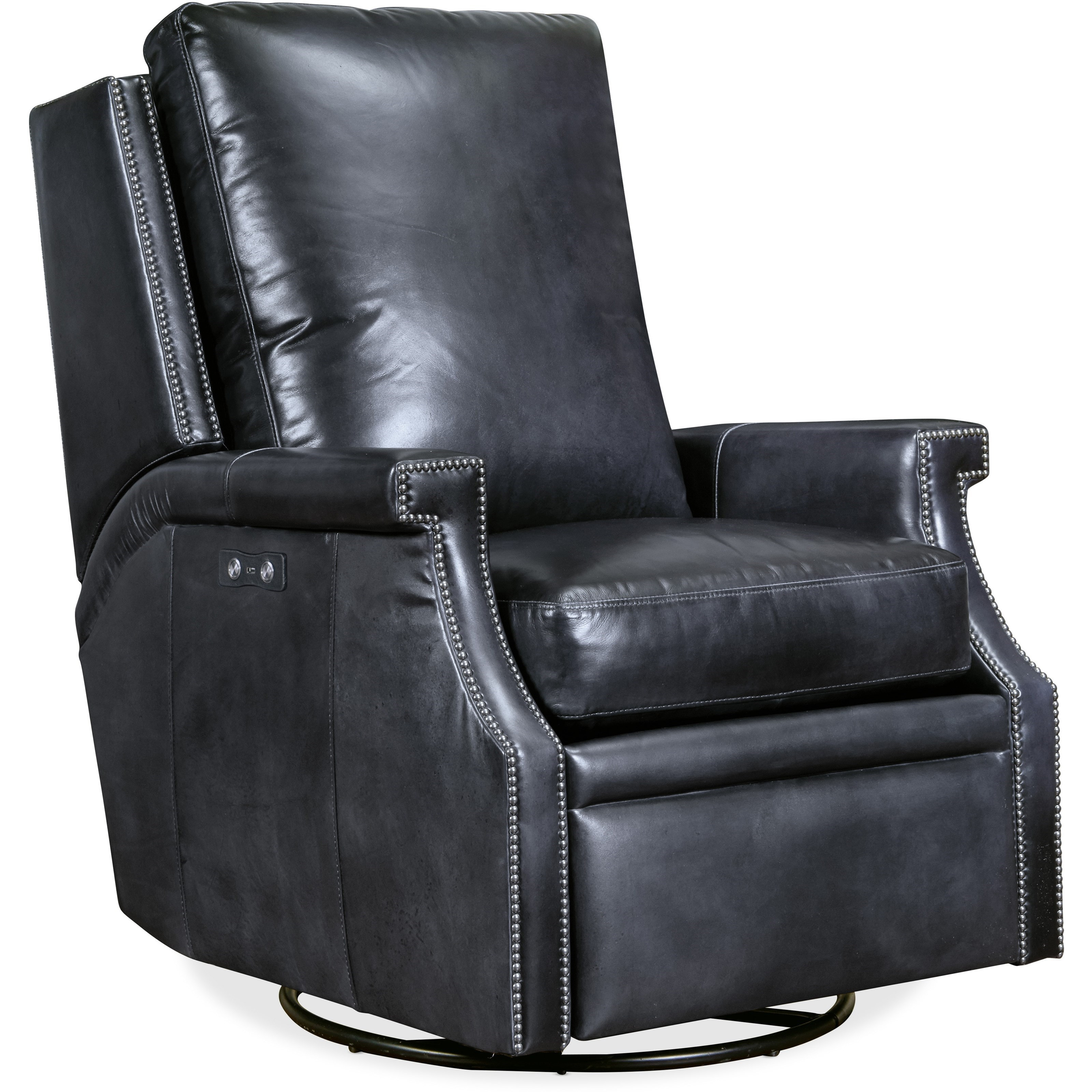 Collin Power Swivel Glider Leather Recliner by Hooker Furniture at Miller Waldrop Furniture and Decor