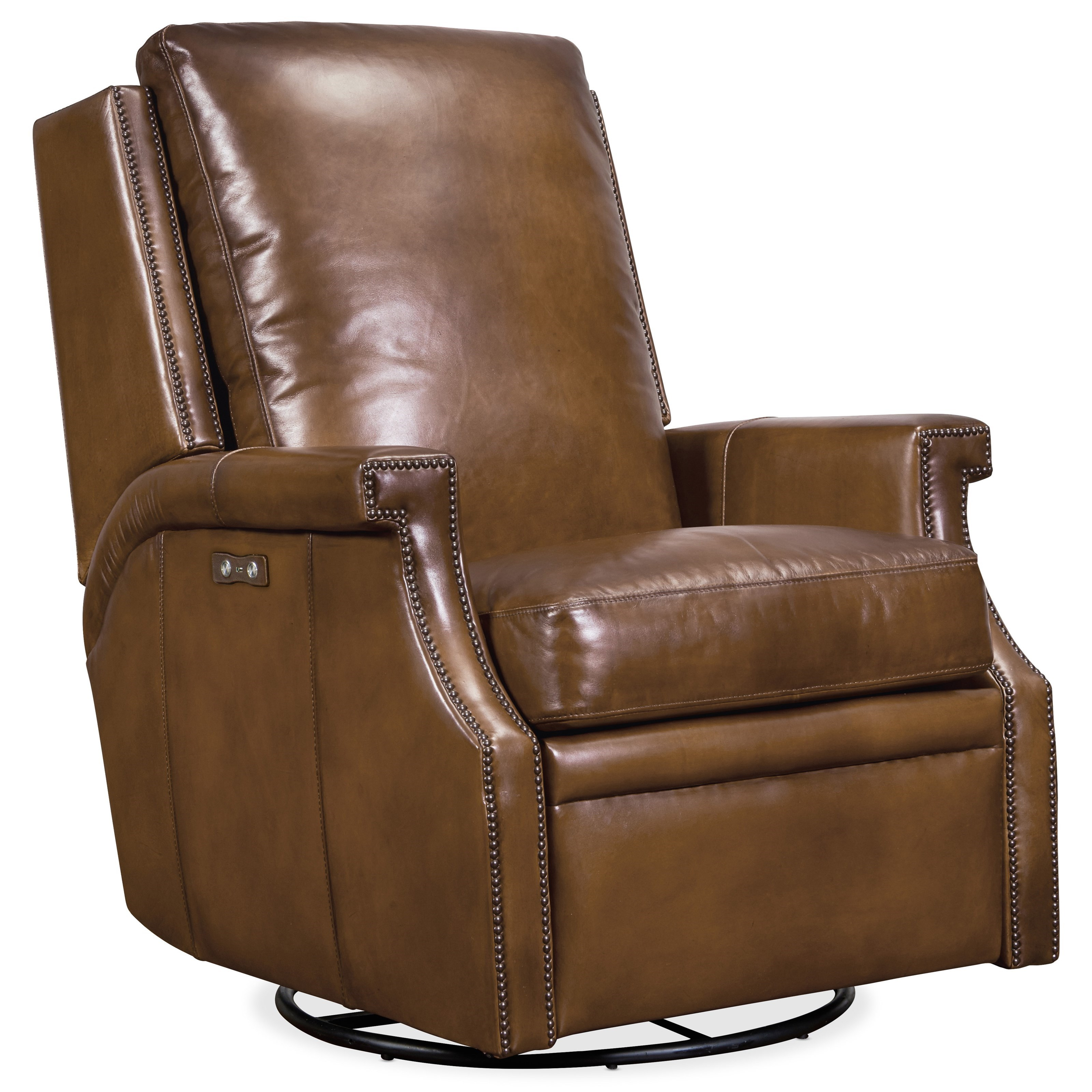 Collin Power Swivel Glider Leather Recliner by Hooker Furniture at Johnny Janosik