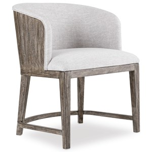 Upholstered Chair with Wood Back