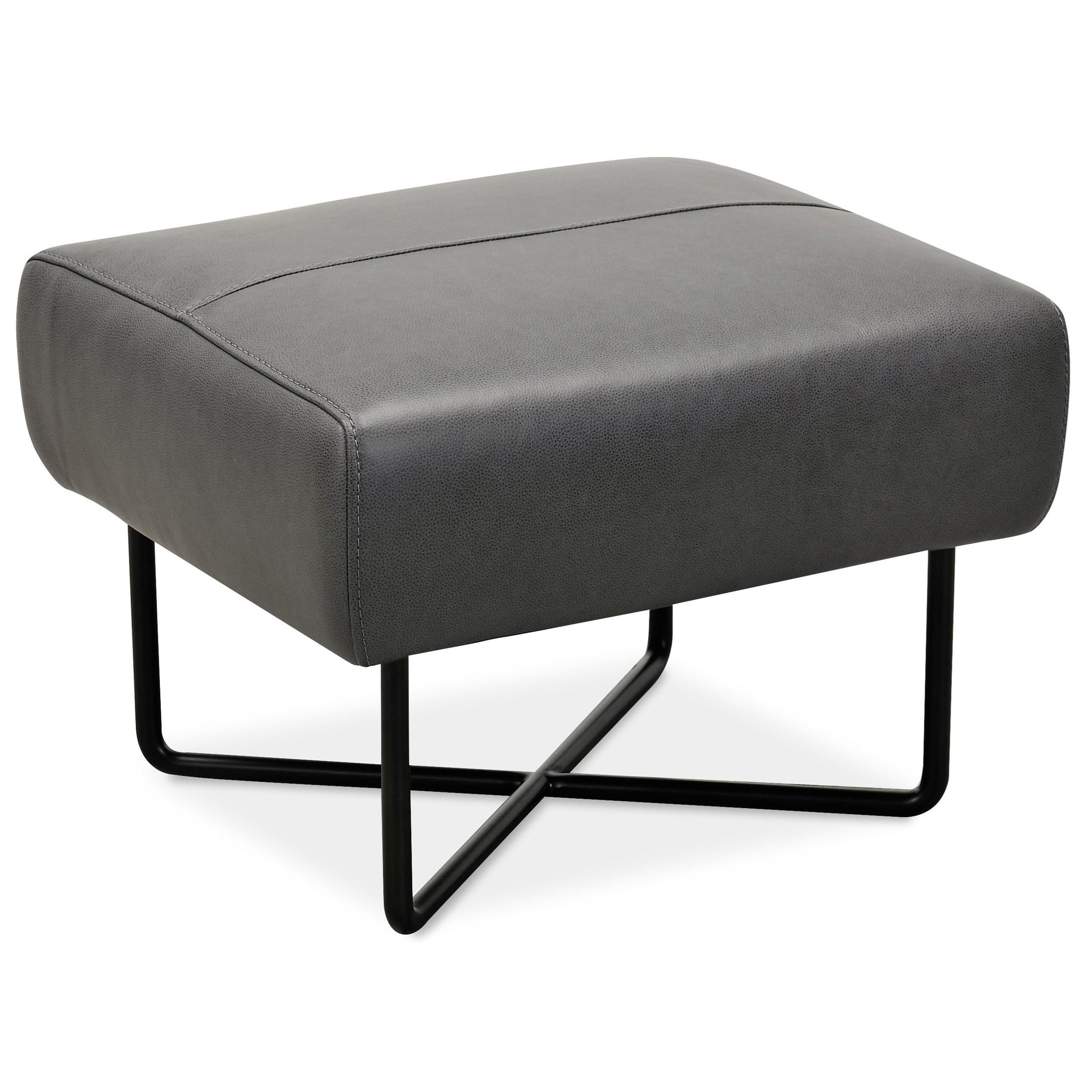 Efron Ottoman w/ Black Metal Base by Hooker Furniture at Baer's Furniture