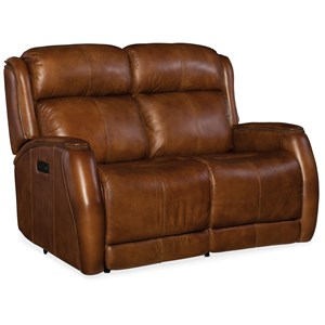 Power Loveseat with Power Headrest and Nailhead Trim