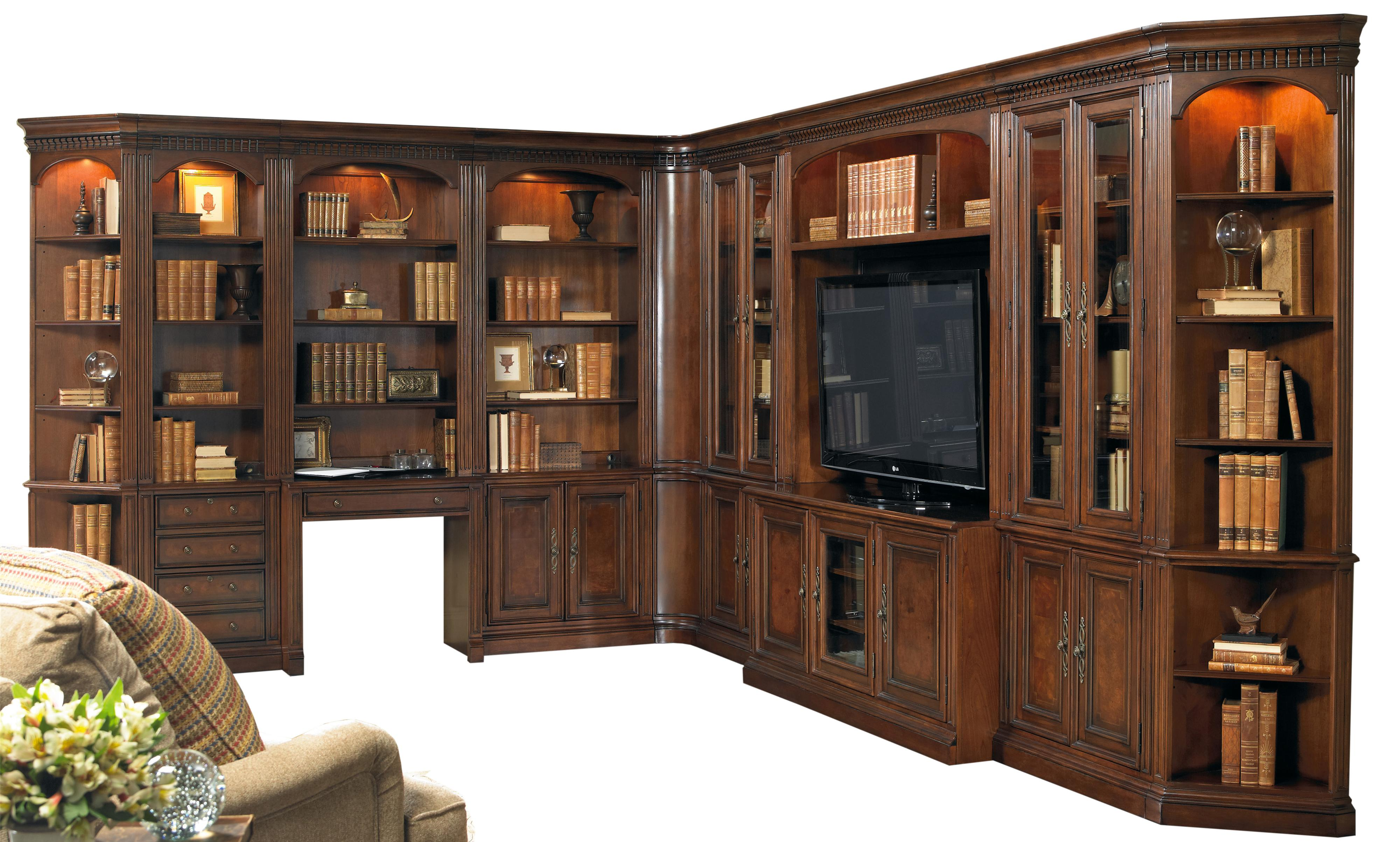 European Renaissance II Grand Scale Corner Wall Unit by Hooker Furniture at Baer's Furniture