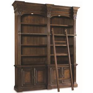Hooker Furniture European Renaissance II Double Bookcase w/ ladder & rail