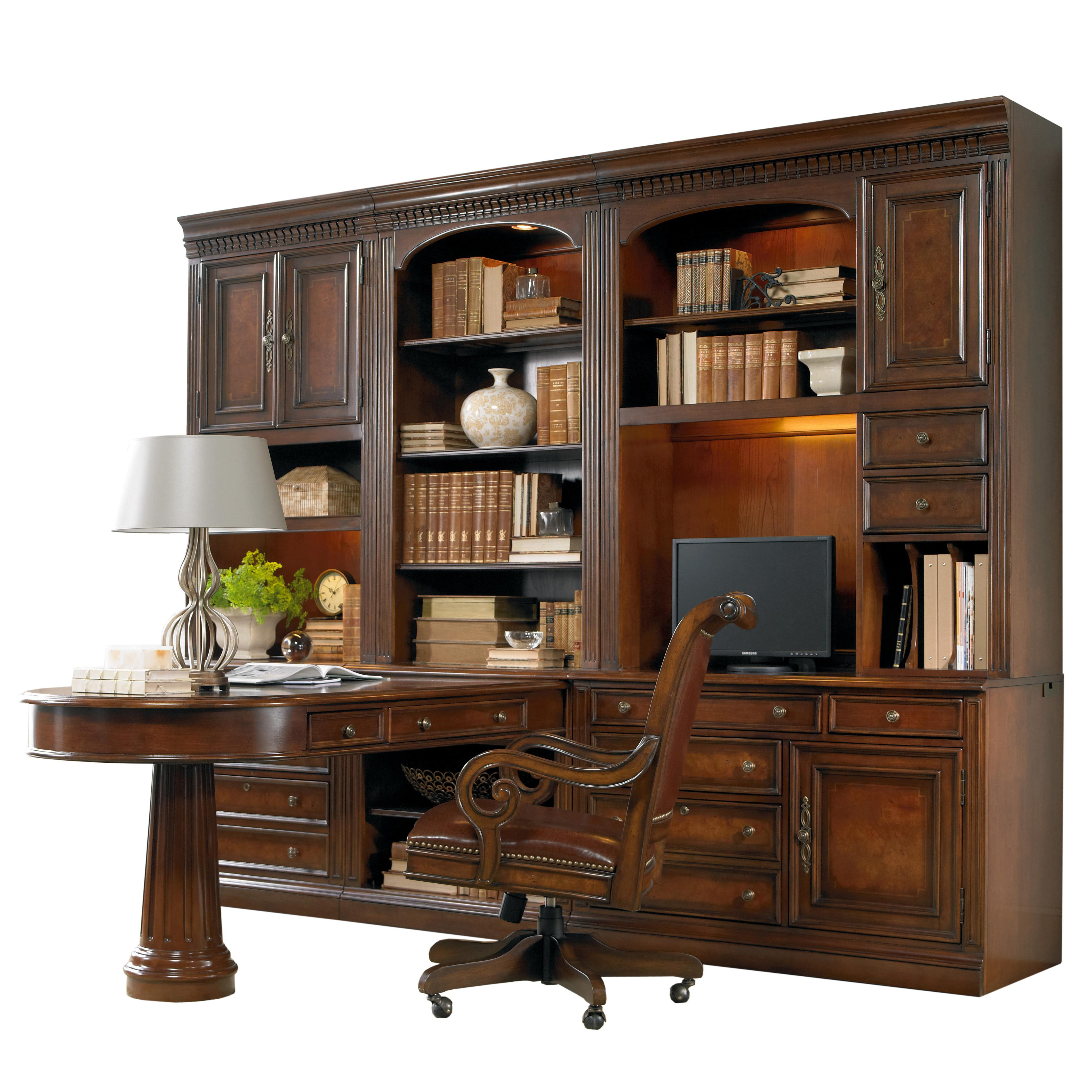 European Renaissance II Office Wall Unit with Peninsula Desk by Hooker Furniture at Baer's Furniture