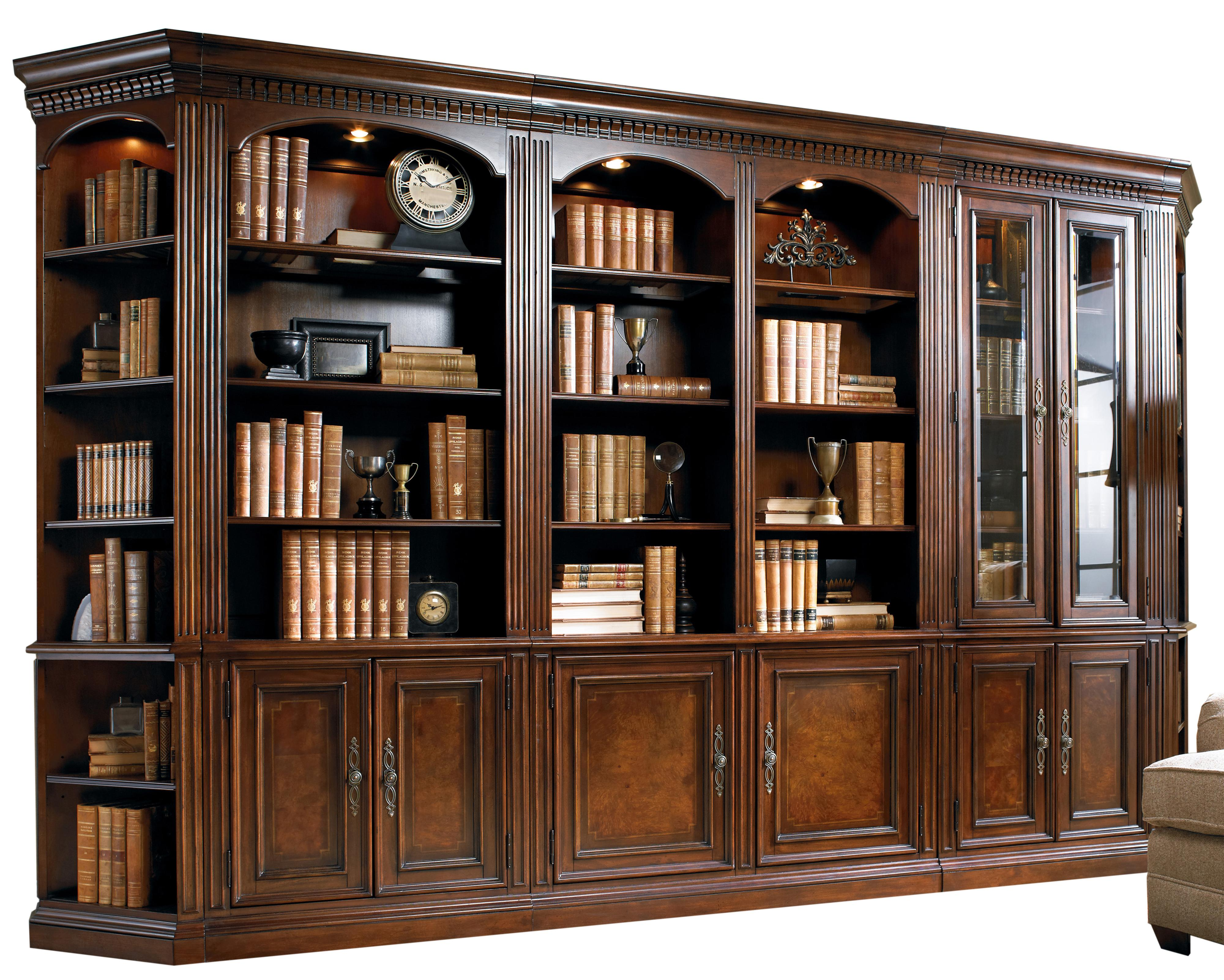 European Renaissance II Five-Piece Library Wall Unit by Hooker Furniture at Baer's Furniture