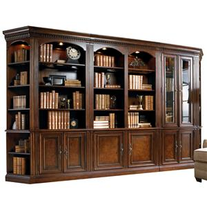 Five-Piece Library Wall Unit with Touch Lighting and Adjustable Shelves