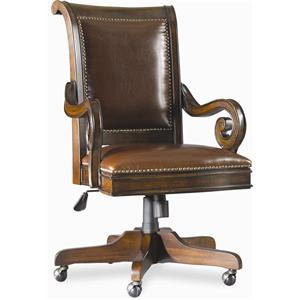 Executive Swivel Chair with Scrolled Arms and Five-Point Caster Base