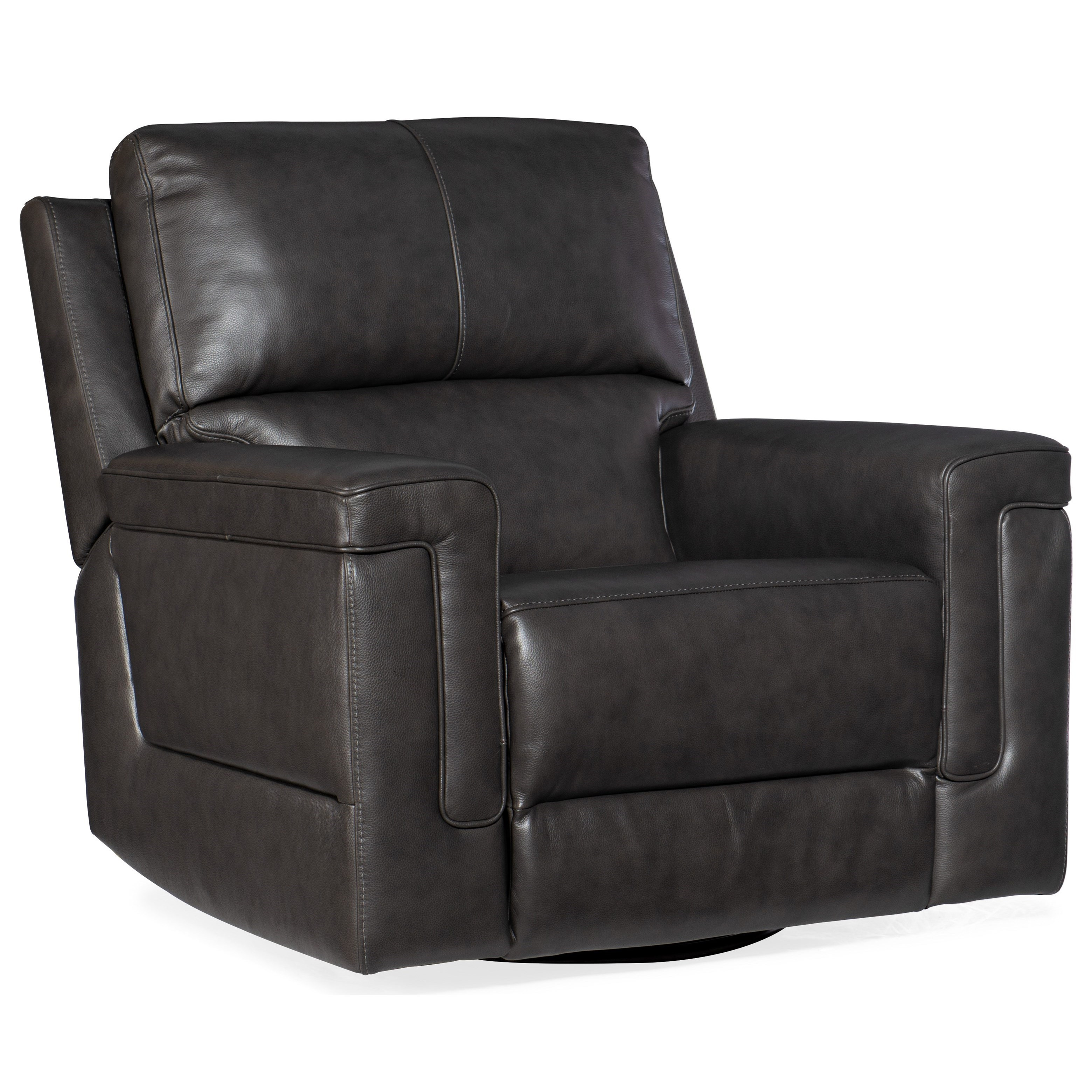 Gable Power Swivel Glider Leather Recliner by Hooker Furniture at Baer's Furniture