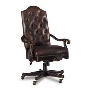 Tufted Leather Executive Office Chair with Tilt, Swivel and Pneumatic Seat Height Adjustment
