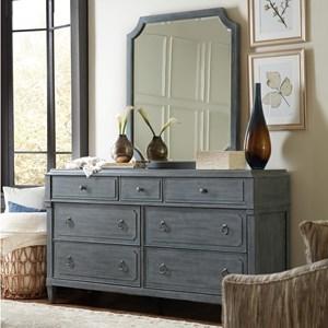 Transitional Seven-Drawer Dresser & Mirror in Gray Finish