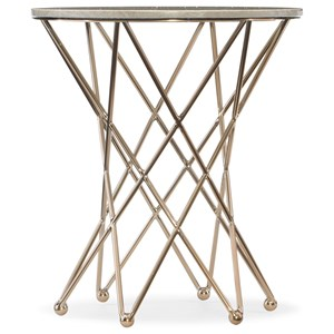 Round End Table with Modern Base and Gray Marble Top