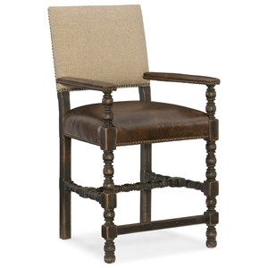 Comfort Counter Stool with Leather Seat