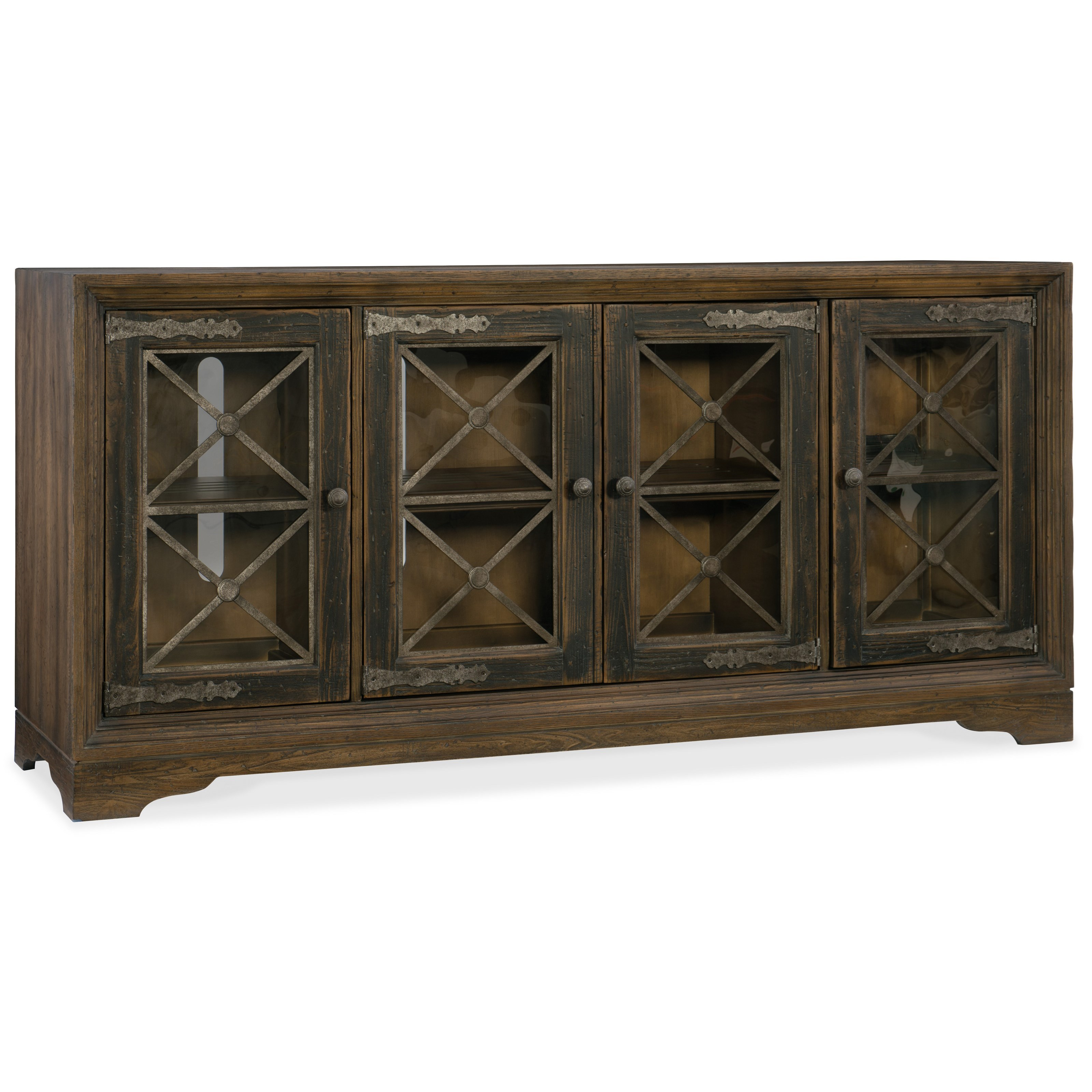 Hill Country Pipe Creek Bunching Media Console by Hooker Furniture at Miller Waldrop Furniture and Decor