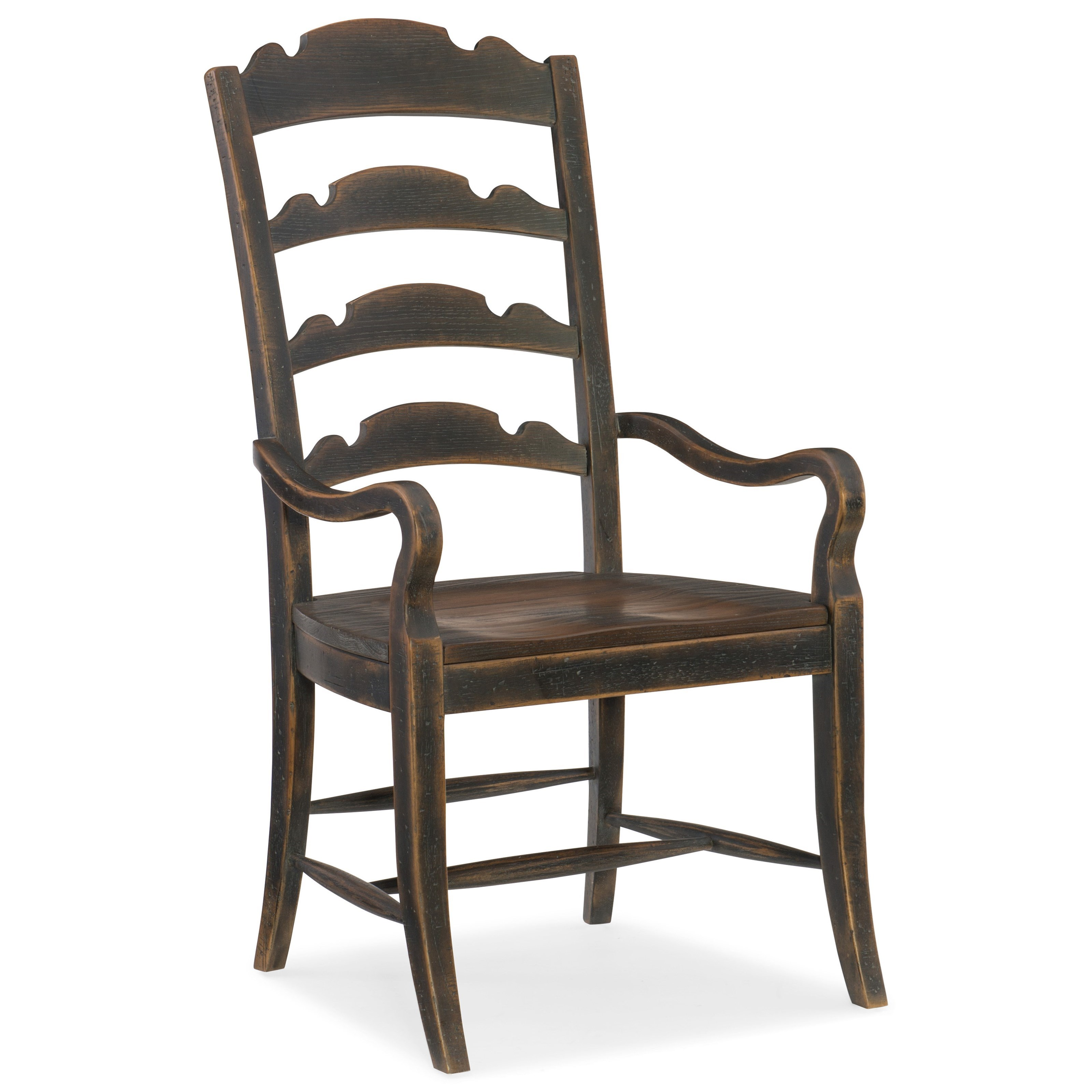 Hill Country Twin Sisters Ladderback Arm Chair by Hooker Furniture at Miller Waldrop Furniture and Decor