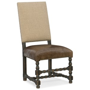 Comfort Upholstered Side Chair with Leather Seat