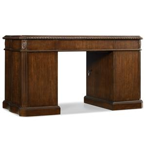 Rope Moulded Double Pedestal Desk with Leather Writing Surface and 2 Locking File Drawers