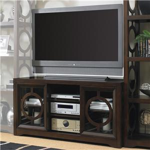 Contemporary Entertainment Console with Circle Fretwork Door Fronts