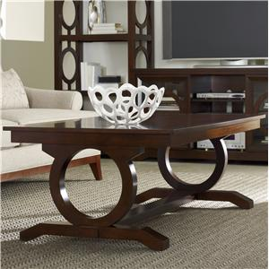 Contemporary Cocktail Table with Open Circle Trestle Support