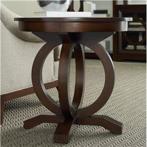 Contemporary Round End Table with Open Circle Pedestal Base