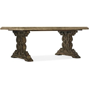 "Le Vieux 86"" Double Pedestal Table with 2 Leaves"