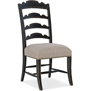 Twin Sisters Ladderback Side Chair with Upholstered Seat