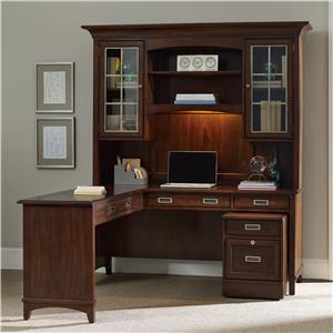 Walnut L-Shaped Desk and Hutch Set with Rolling Filing Cabinet