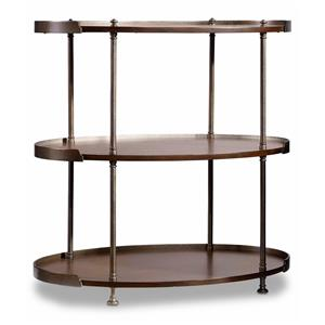 Chairside Table with 2 Shelves and Metal Frame