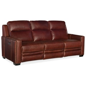 Transitional Leather Power Reclining Sofa with Power Headrest & Power Lumbar Support