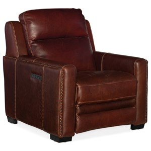 Transitional Leather Power Recliner with Power Headrest & Power Lumbar Support