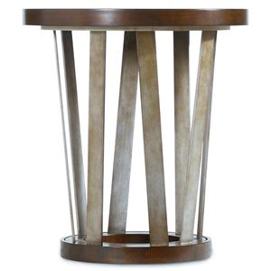 24-Inch Round End Table with Asymmetrical Metal Base
