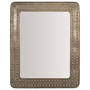 Rectangular Mirror with Riveted Metal Frame