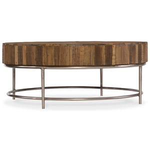 Round Cocktail Table with Reclaimed Wood Top