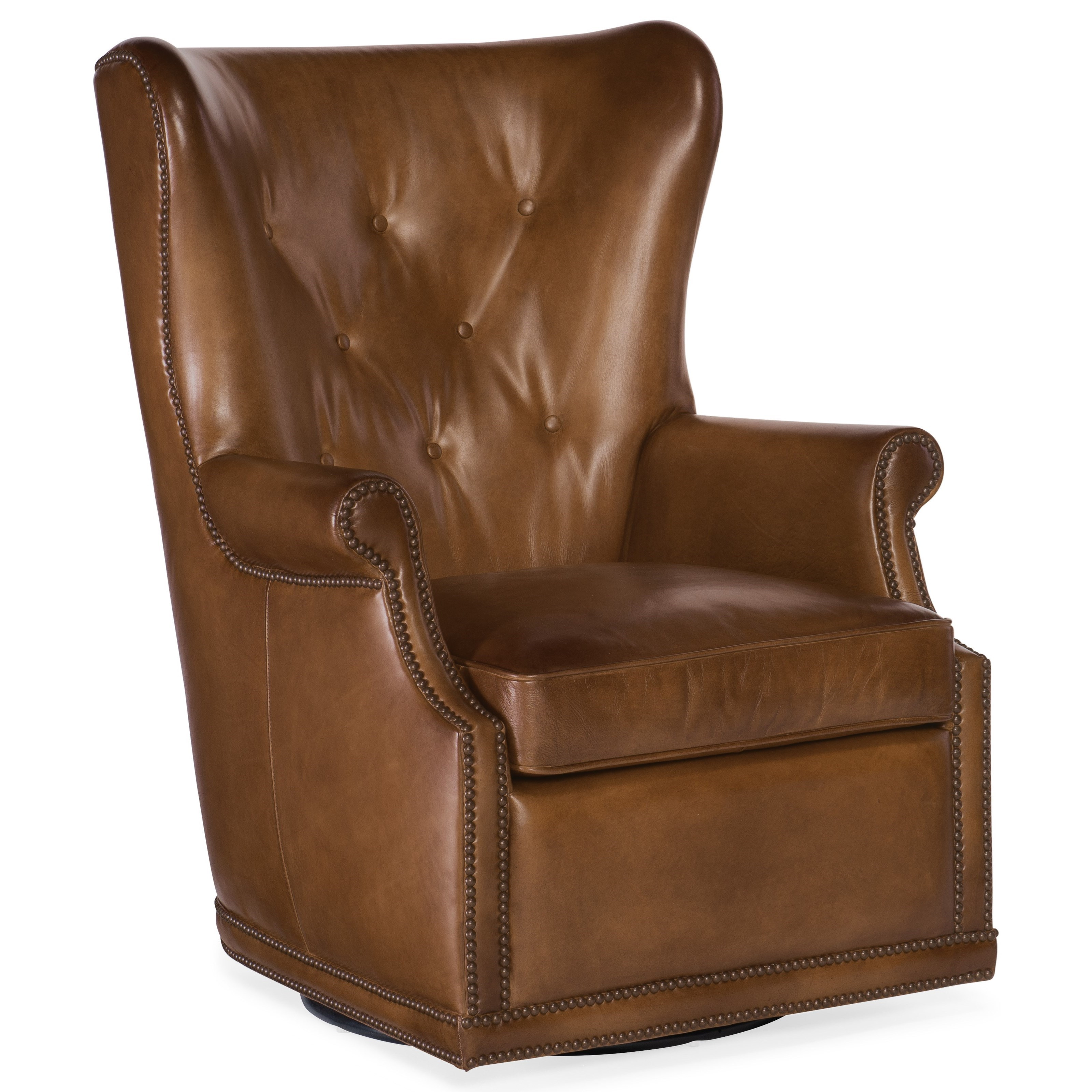 Maya Wing Swivel Club Chair by Hooker Furniture at Miller Waldrop Furniture and Decor