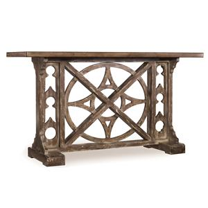 Rafferty Console with Compass Motif Fretwork and Rustic Plank Top