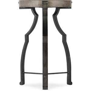 Relaxed Vintage Round End Table with Glass Top