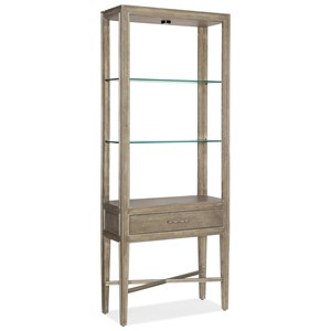 Transitional Etagere with Adjustable Glass Shelves