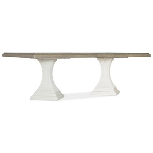 "Transitional Double Pedestal Dining Table with Two 22"" Leaves"