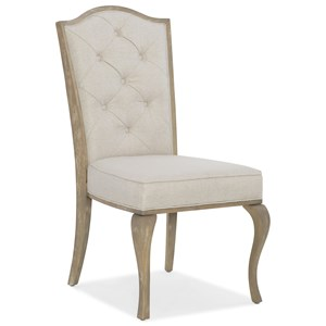 Transitional Upholstered Side Chair with Button Tufted Back