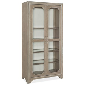 Transitional Display Cabinet with Adjustable Shelves and Touch Lighting