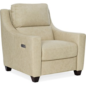 Transitional Leather Recliner with Power Headrest