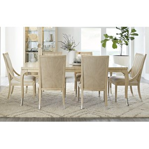 Contemporary Dining Table Set with 6 Chairs