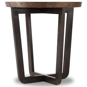 Round End Table with Copper Top
