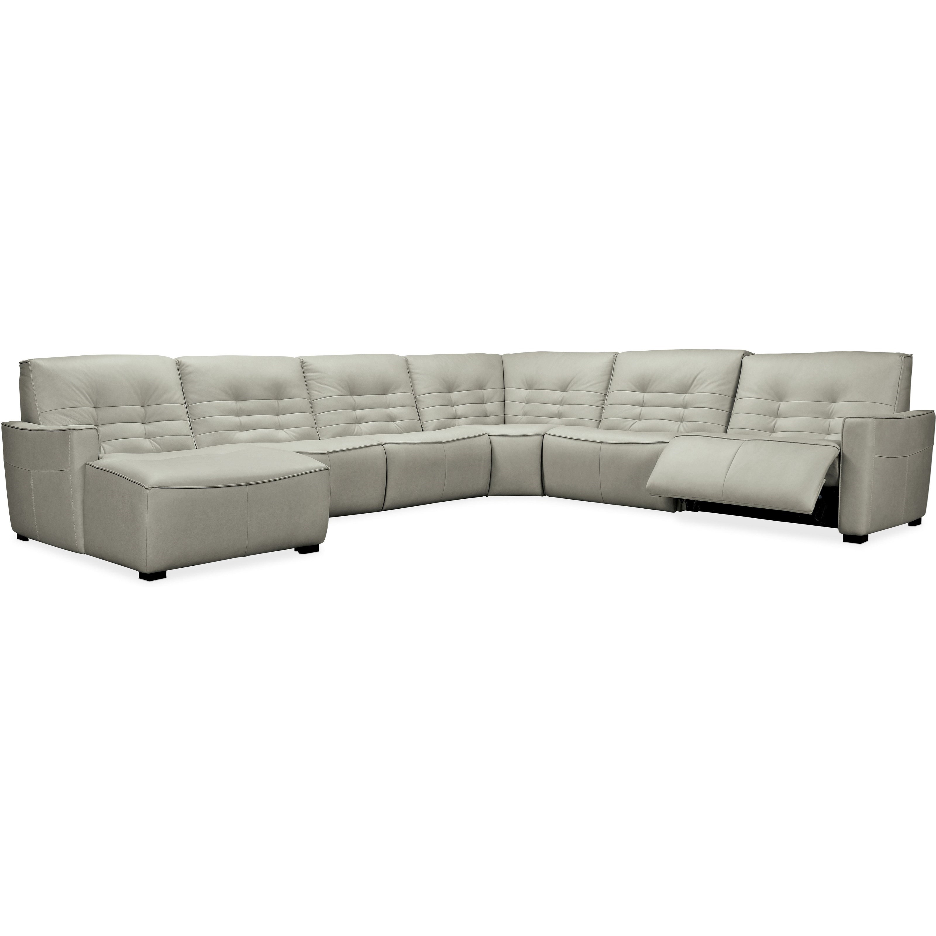 Reaux 6-Piece Power Sectional with LAF Chaise by Hooker Furniture at Alison Craig Home Furnishings