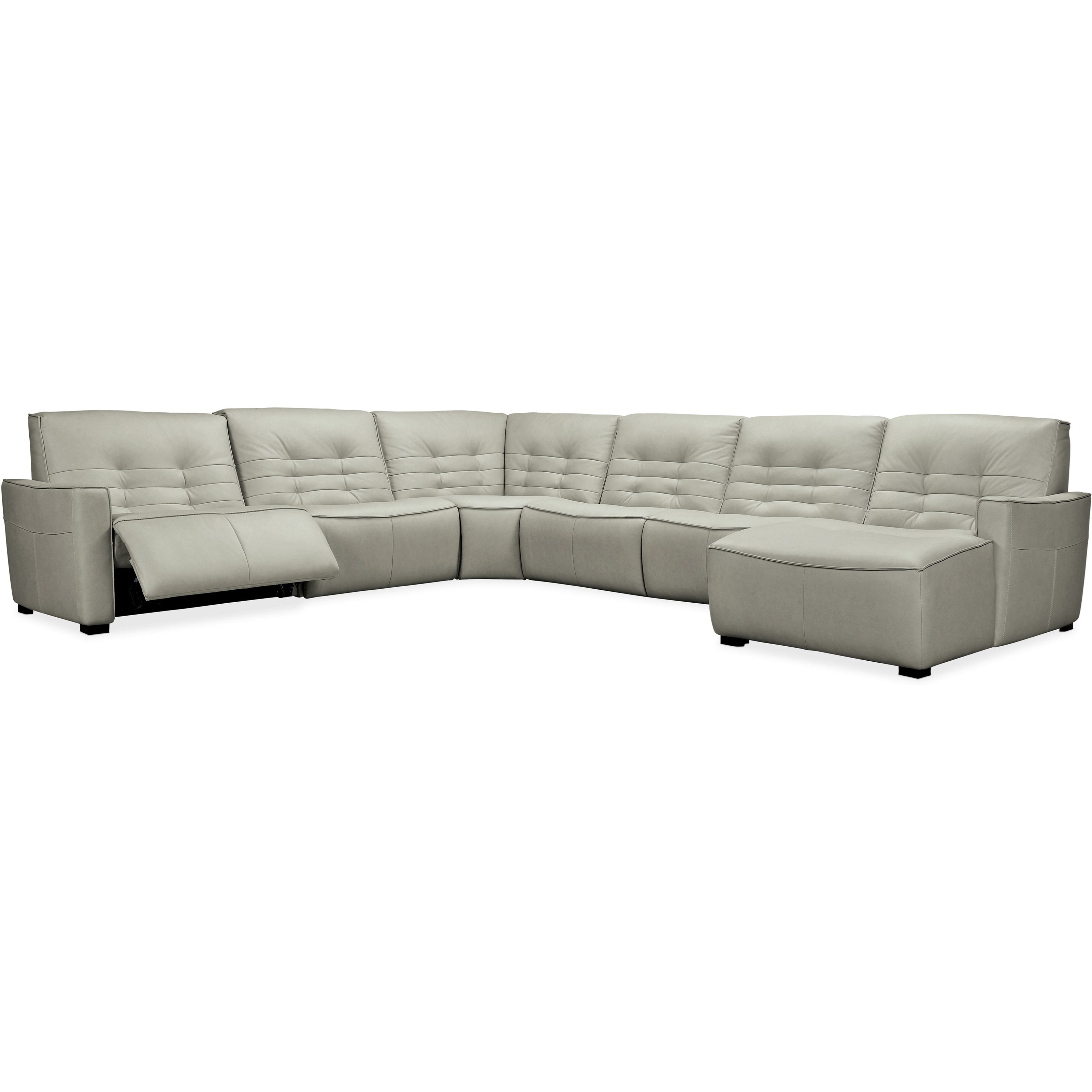Reaux 6-Piece Power Sectional with RAF Chaise by Hooker Furniture at Miller Waldrop Furniture and Decor