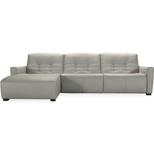 Contemporary Leather Power Motion Sectional with LAF Chaise