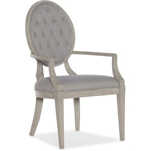 Transitional Button Tufted Arm Chair