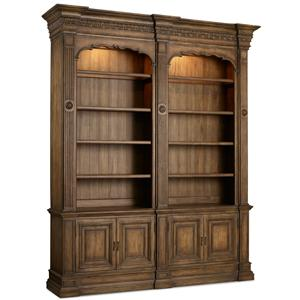 Double Bookcase with Touch Lighting