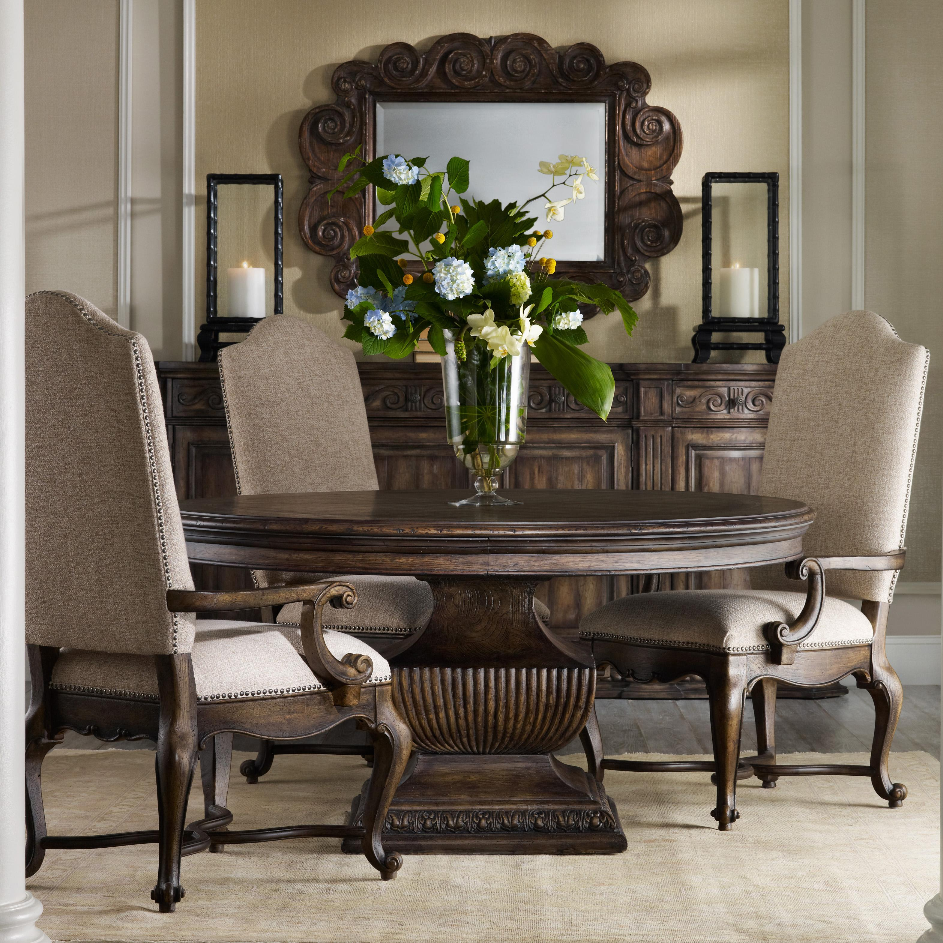 """Rhapsody 60"""" Round Table and Upholstered Chair Set by Hooker Furniture at Belfort Furniture"""