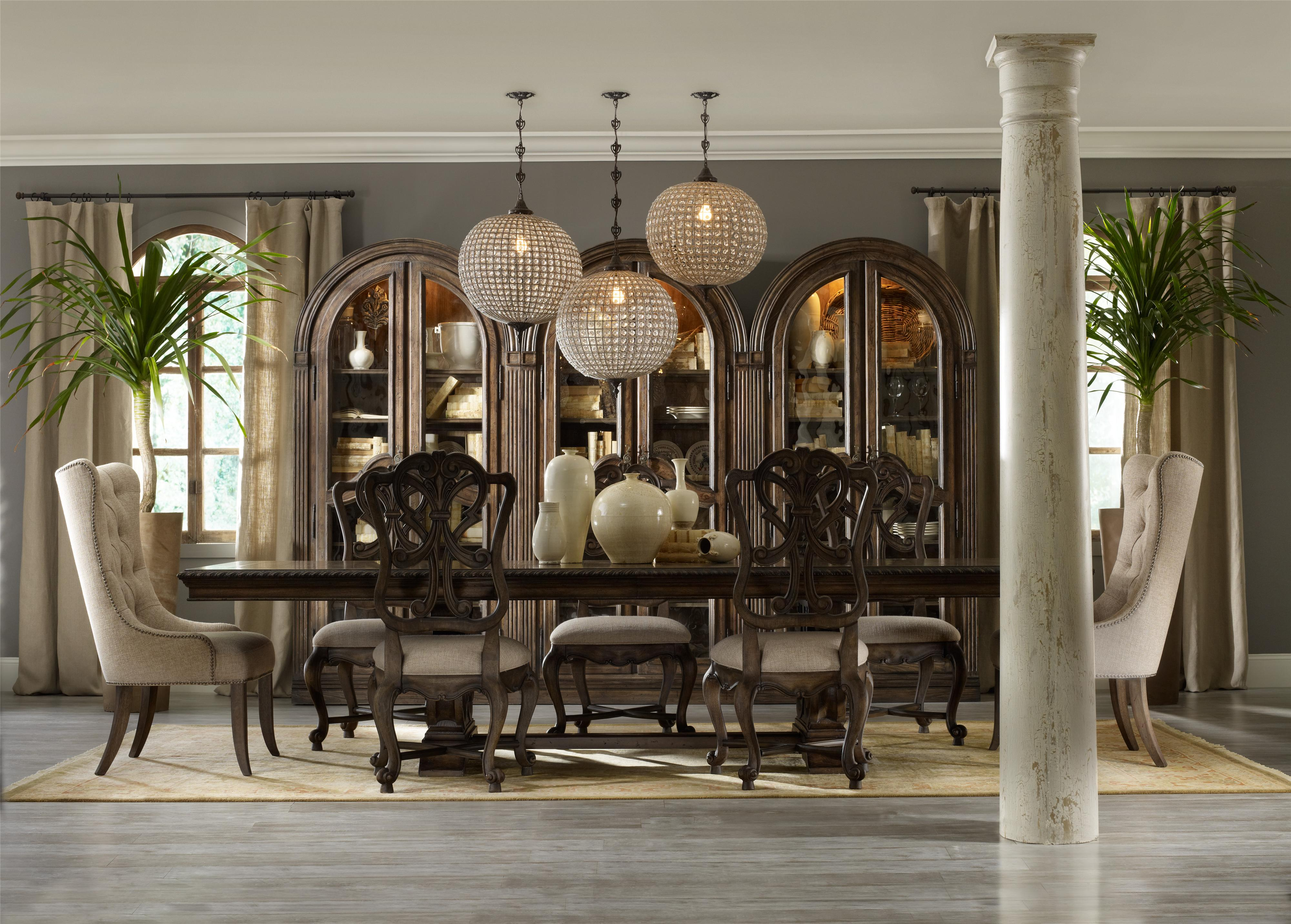 Rhapsody Rectangular Dining Group w/ 2 Tufted Chair by Hooker Furniture at Miller Waldrop Furniture and Decor
