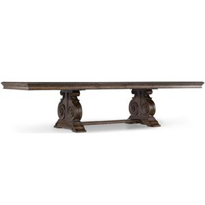 Traditional Rectangle Dining Table with Grand Scale Scroll Base and Two 20-Inch Extension Leaves